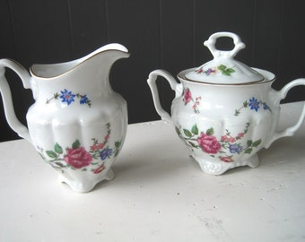 "Vintage Walbrzych Porcelain Set of Creamer & Sugar Bowl with Pattern ""Sheraton Rose"", Poland Teaset, Polish China, Romantic Porcelain Teaset"