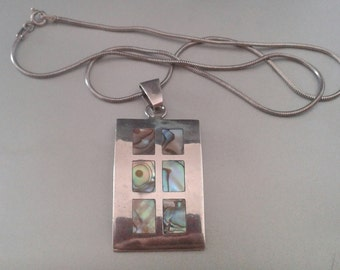 Sterling Necklace and Pendant with Abalone