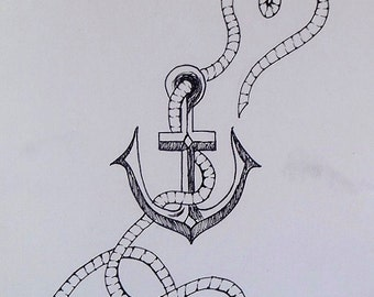 Anchor & Rope Drawing