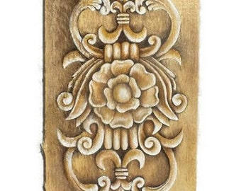 Faux carved wood Painting - Carved Wood Art - Decorative Wood Painting - Wood Wall Art - Rustic Wall Art - Gift for her- Victorian Decor