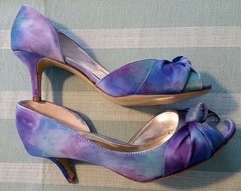 Hand painted satin watercolor dyed peep toe heels - Size 7 - CUSTOM COLORS AVAILABLE