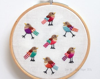 Mini Hand Embroidered Framed Hoop - 'Walking and Talking'