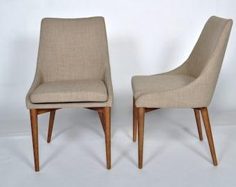 Set of 2 Mid Century Modern Beige Dining Chair Walnut