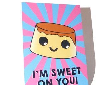 A6 Kawaii Crème Caramel Pudding Postcard Print