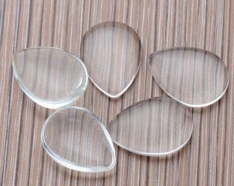 Teardrop Clear Glass Cabochons Wholesale, Teardrop Glass cabs, Crystal Clear Colorless Glass, transparent glass covers
