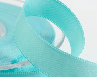 Full Reel Satin Ribbon Ribbon 3mm, 6mm, 10mm, 16mm, 25mm, 50mm - Duck Egg Blue
