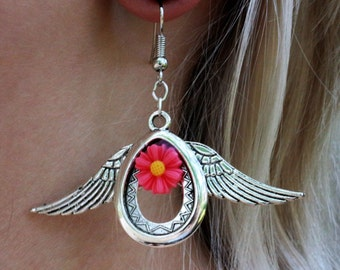 Angel drops earrings - pink