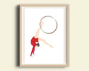 Gymnastic poster, girl gymnastic, printable home decor , printable art, red print, 2016 olympics, instant download  art, illustration print