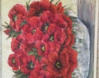 Fannie Fremmel Red Poppies original oil on board
