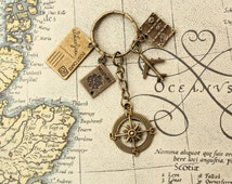 Travel keyring, traveller keychain bronze tone keyring with compass charm, suitcase, passport, postcard and airplane charms nomad boho