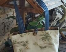 Handbag Handmade Bag Fabric Palm Tree Bag Canvas Bag Denim Bag Tote Hobo Woman's Shoulder Bag Vintage Style