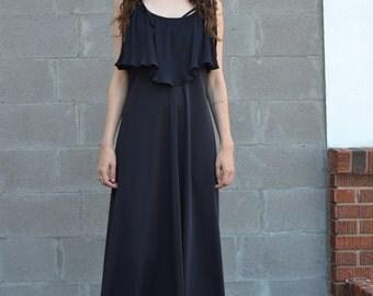 1970s Black Maxi Dress