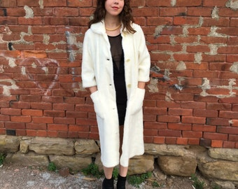 1960s White Faux Fur Coat