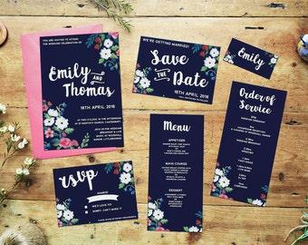 Boho Floral: Custom Wedding Invitation Package