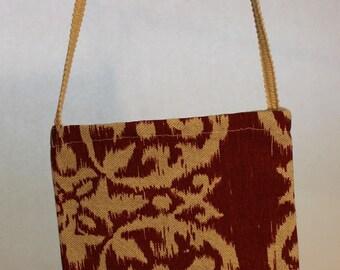 Small Fabric Bag Rust Ikat Fabric Item #B16