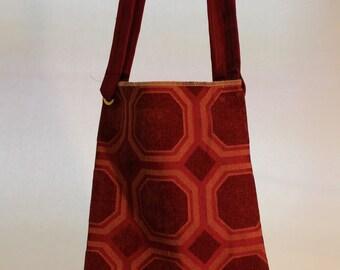 Large Burgundy Color Bag with Octagonal Shapes Item #B37