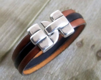 Bracelet men black/Camel leather, 13MM silver plated clasp. Valentines Day gift. Gift for coworker