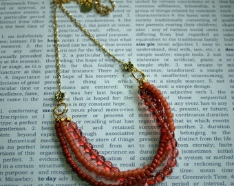 Peach Multistrand Beaded Necklace