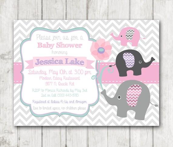 Elefante para imprimir niña bebé ducha invitación flores