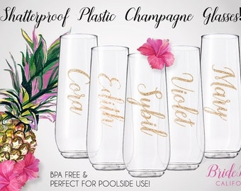plastic bridesmaid champagne glasses plastic stemless champagne flute poolside flutes bpa free