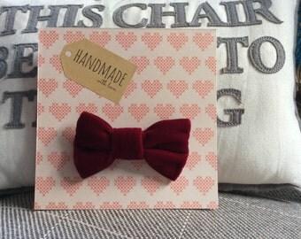 Claret Red Velvet Dog Bow-Tie, just slips onto dog collar