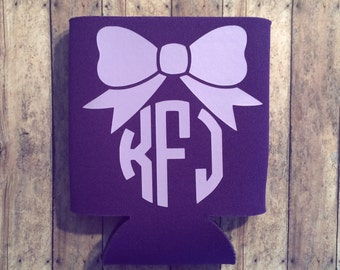 Monogram Can Cooler - cute can cooler - personalized can cooler - can cooler - girly can cooler - initials can holder - can holder