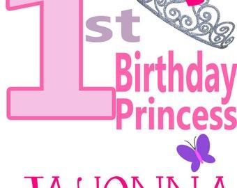 1st Birthday Princess Outfit, 1st birthday Princess Shirt, Girls Personalized Princess Shirt, 1st Birthday Princess Shirt, Princess Onesie