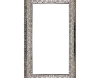Moroccan Arabesque silver ornate vintage mirror rectangular cut out