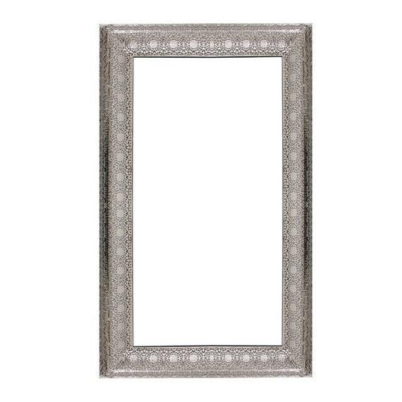 Moroccan Arabesque Silver Ornate Vintage Mirror Rectangular