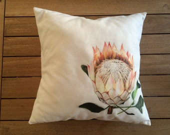 Hand Crafted King Protea Flower Square Cushion
