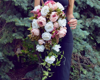 Cascading Wedding Bouquet,  Peony Bridal Bouquet, Silk Flowers, Wedding Flowers, Pink Bouquet, Realistic Alternative Bouquet