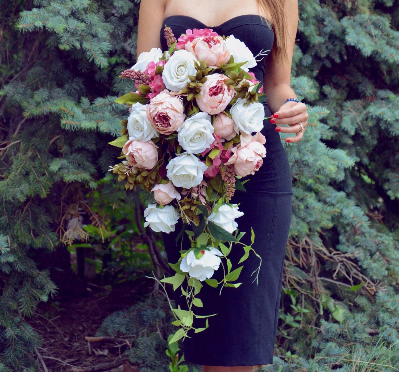 Cascade Bouquet Silk Wedding Flower: Cascading Wedding Bouquet Peony Bridal Bouquet Silk