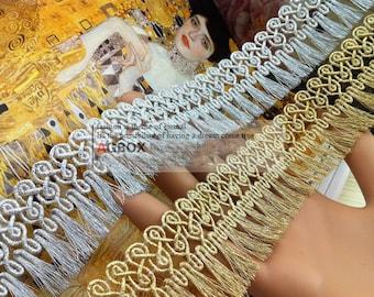 "3 yard 3.3cm 1.29"" wide gold/silver tassels fringes lace trim ribbon 28xi43 free ship"