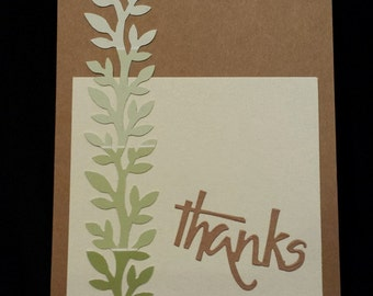 Thank You Card -Handmade Brown with Green Vines