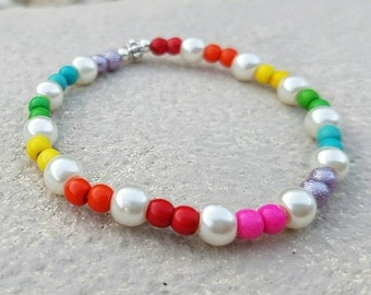 Rainbow beaded stretch bracelet coloured beads glass pearls stacking fashion bracelets