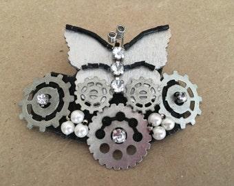 Silver & Pearl Butterfly Gear Barrette