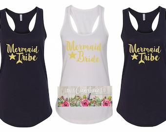 Bride Tribe - Mermaid Bride - Bride Tribe Tank top - Bachelorette Party - Girls Night Out  - Bachelorette Tanks - Bachelorette Party Favors