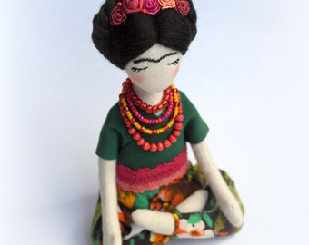 Frida Kaloh doll Soft sculpture Frida Kaloh rag doll Fabric collectible doll Textile doll