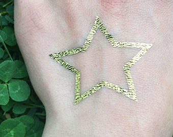 Star Tattoo - Metallic Gold Temporary Tattoo - Jewel Flash Tattoos - Patriotic Temporary Tattoos - Big Star Tattoos - Removable Tattoo Ideas