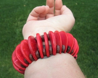 Coco Bead-Coconut Shell Red Bracelet