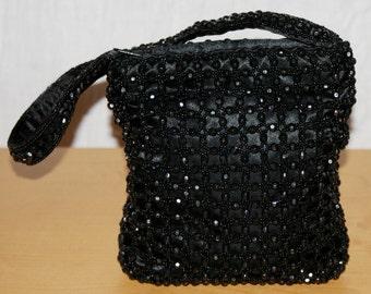 Party Shoulder Bag Black Color Beads Adorned Handbag Purse Borsa Donna Piccola Monospalla con Perle Nere Sintetiche REBECCA MOLENAAR