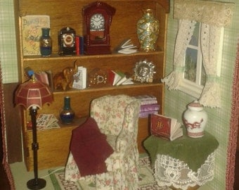 "1:12 scale dolls house miniatures roombox ""reading corner"""