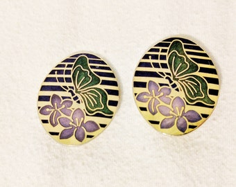 Butterfly and Hibiscus Cloisonné Clip On Earrings