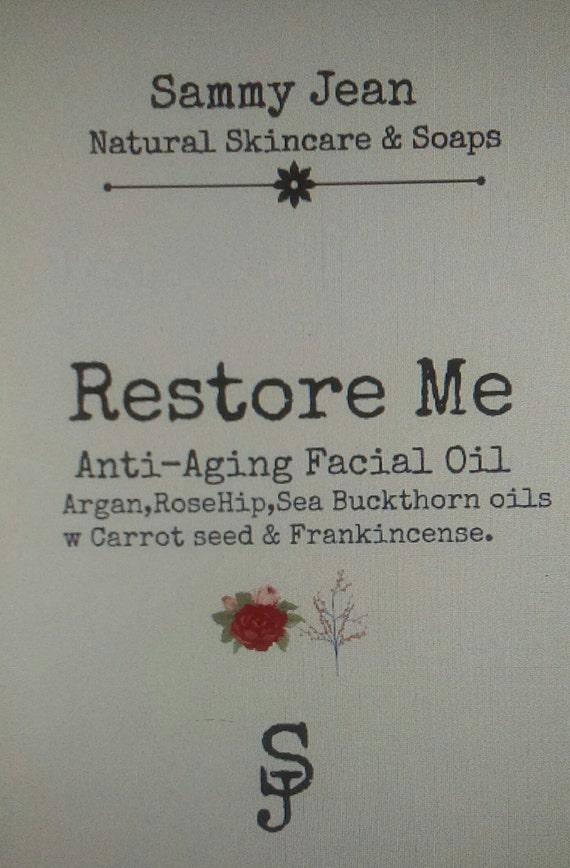 Restore Me Facial Oil/Anti-Age/Virgin Organic Argan/Organic Rosehip Seed Oil/Sea Buckthorn/Organic Carrot Seed Oil/Frankincense