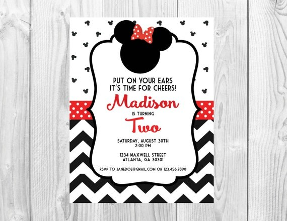 Minnie Mouse Red Birthday Party Invitation >> Chevron Birthday Invitation >>  Girls Birthday Party Invite >> Custom Printable Digital File