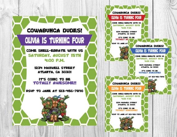 TMNT Birthday Party Invitation >> Choice of Color >> Teenage Mutant Ninja Turtles Birthday Party Invite << Custom Printable Digital File