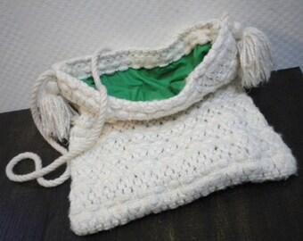 Shopper, wool bag, shoulder bag, white-green, vintage look