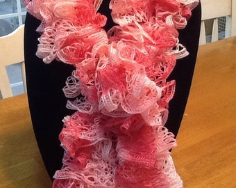 Shades of Pink Ruffled Lace Scarf