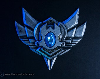 Silver Badge, League of Legends - hand painted with gemstone