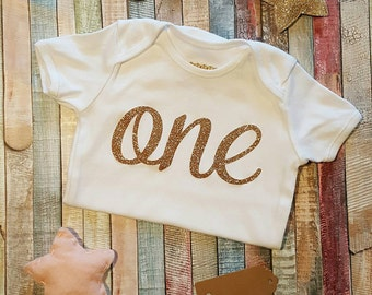 First Birthday Gold Glitter one baby bodysuit - Gift - cake smash - party